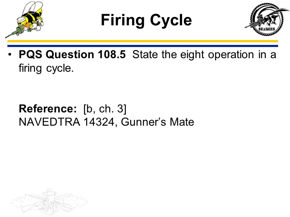 Firing Cycle PQS Question 108.5 State the eight operation in a firing cycle. Reference: [b, ch. 3] NAVEDTRA 14324, Gunner's Mate.